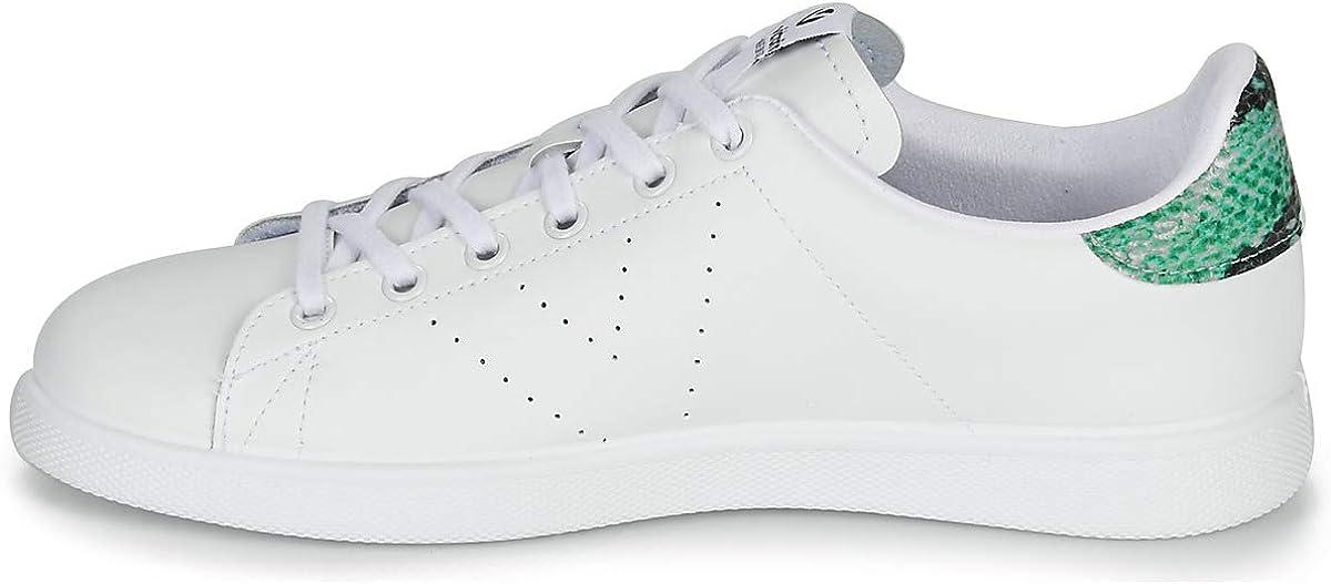 Victoria Tenis Piel/Glitter, Baskets Mixte Adulte Blanc Bleu