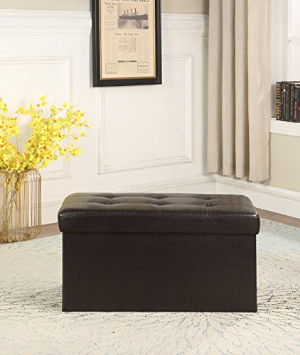 """Viola Tricolor Folding Storage Ottoman Bench, Great as a Double Seat or a Foot-rest Stool, Space Saver for Toys or Blanket, Faux Leather, (31.5"""" L x 14.9"""" W x 14.9"""" H, brown)"""
