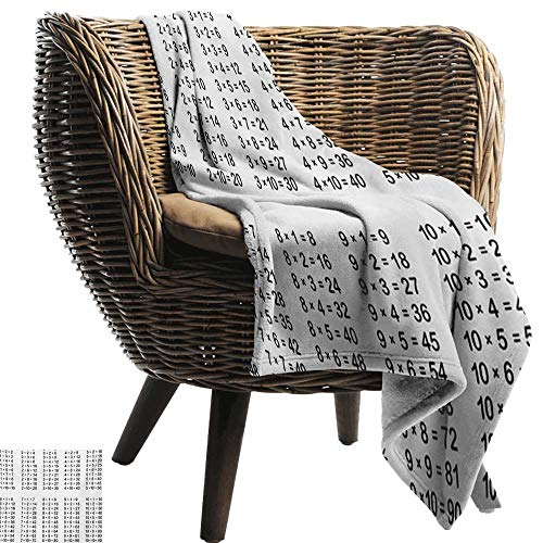 BelleAckerman Throw Blanket for Couch,Educational,Multiplication Table on White Background Mathematics Algebra School Student,Black White,Comfortable Soft Material |give You Great Sleep 60
