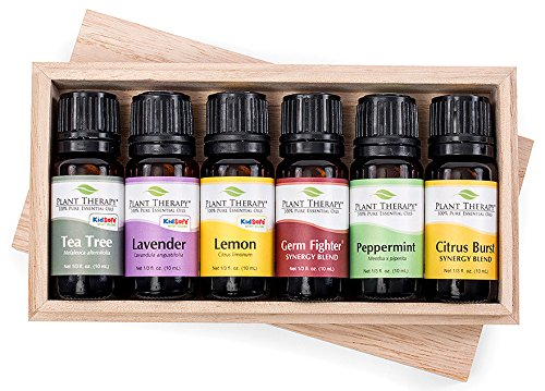 Plant Therapy Spring Cleaning Essential Oil Set. 100% Pure, Undiluted, Therapeutic Grade. Contains: Tea Tree, Lavender, Lemon, Citrus Burst, Germ Fighter and Peppermint. 10 mL (1/3 Ounce) each.