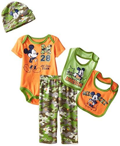 Disney Baby Boys' Mickey Mouse 5 Piece Set, All Star Team, Orange, 0-6 Months