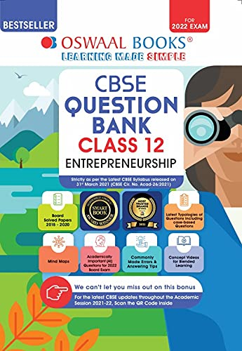 Oswaal CBSE Question Bank Class 12 Entrepreneurship Book Chapter-wise & Topic-wise [Combined & Updated for Term 1 & 2]