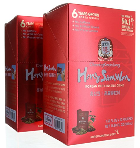 20 pouches, Cheong Kwan Jang - Hong Sam Won Korean Red Ginseng Extract Drink, 33.80 FL OZ/1000mL