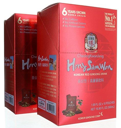 20 pouches, Cheong Kwan Jang - Hong Sam Won Korean Red Ginseng Extract Drink, 33.80 FL OZ/1000mL