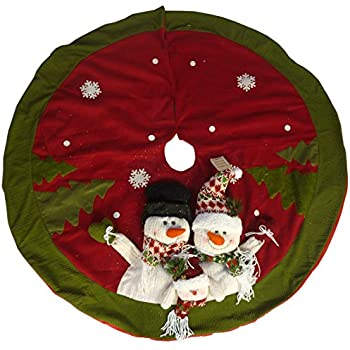 48 Inch Beautiful Christmas Tree Skirt In Red Green With Snowman Family By CHRISTMAS CONCEPTS