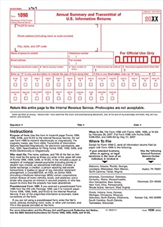 Amazon.com : IRS Approved 1096 Laser Transmittal/Summary Red Form ...