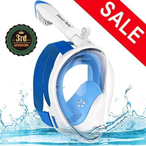 XBUTY 2019 Upgraded Full Face Snorkel Mask, Foldable Snorkeling Mask for Adults and Kids with Camera Mount 180° Large Panoramic View Easy Breath Dry Top Set Anti-Fog Anti-Leak