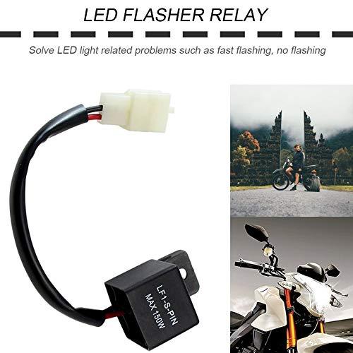 12V 2-Pin Motorcycle Electronic LED Flasher Relay 150W LED Se/ñal de giro Bombillas LED Indicador de giro Luz intermitente Intermitente intermitente negro