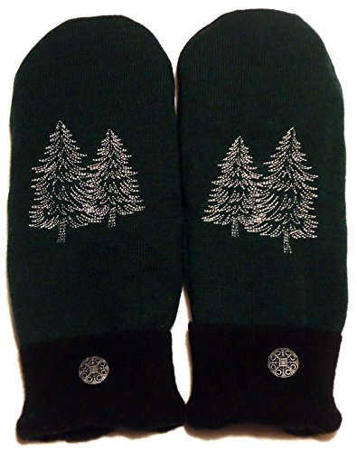 (Integrity Designs Sweater Mittens, 100% Wool, Green and Black Color with Polar Fleece Lining, Adult Size Large, Super Thick, Pine Trees Motif Embroidery, Contrasting Button)