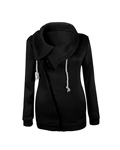 Mujeres Abrigo de Manga Larga con Capucha Coat Jacket Chaqueta Negro M