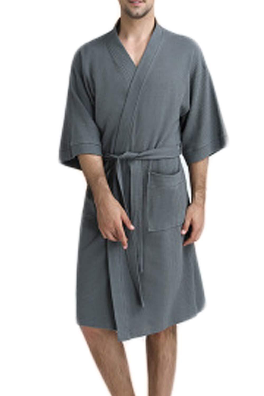 Vosujotis Men Fleece Kimono Bathrobe Cotton Lightweight Nightgowns Robe Grey L