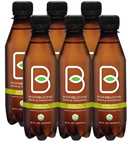 - Kombucha Raw Organic Tea, Only 2g of Sugar, Probiotics & Prebiotic, Kosher, Pack of 6x8 oz (B-tea Lemon Balm Green Tea, 8 oz)