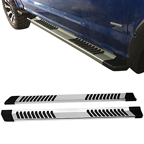 Running Boards Fits 2009-2014 Ford F-150 | SVT Raptor Side Step Bar Aluminum Glossy Silver by IKON MOTORSPORTS | 2010 2011 2012 2013