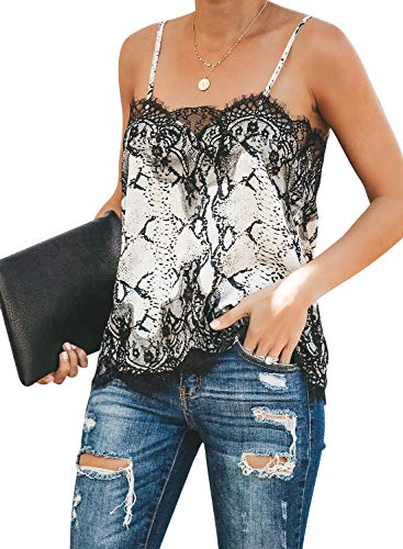 (BLENCOT Women Ladies Plus Size Sexy V Neck Lace Patchwork Cami Tank Tops Casual Loose Sleeveless Blouses Shirts Black)