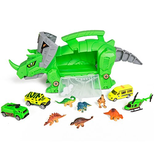 Car Dinosaur (Best Choice Products Kids Toy Holder Triceratops Car Carrier w/ Vehicles and Dinosaurs - Green)