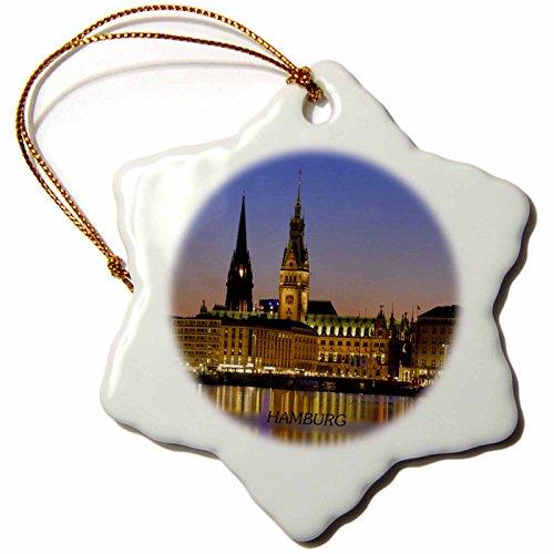 Germany Christmas Ornament - 3dRose orn_50895_1 Hamburg Germany at Nite-Snowflake Ornament, Porcelain, 3-Inch