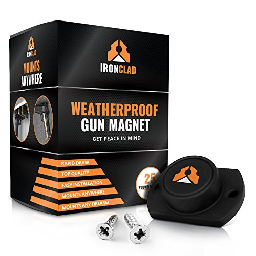 IronClad Quick Draw 25lb WeatherProof Gun Magnet Holder | Mount Your Pistol on the Desk, Truck, Vehicle, Car, BedSide, Safe, Wall or Table (Screws Included)