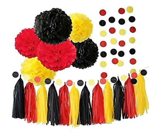 Red Yellow and Black 20pcs Party Decoration Set by Cherry Down ()