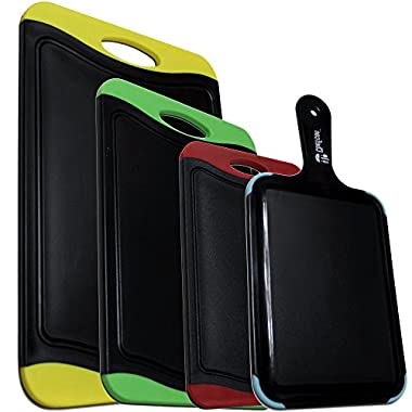 Chefcoo Cutting Board Set Stylish Color Plastic Non-Slip Kitchen Chopping Block, Juice Groove Lip for Meat & Vegetable Spills, Perfect Fit for Any Kitchen Knife, 4 Piece