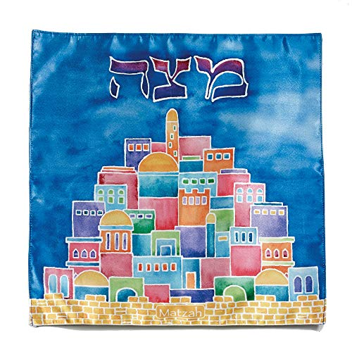 Jerusalem Cover - Modern Satin Passover Matzah Cover with Jerusalem Motif