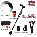 DTXDTech Walking Cane for Man Women Eldely With Led Light Alarm Model Fold Walking Cane With Nameplate Two Pivoting All-Terrain Base Walking sticks for Extra Stability Original Black