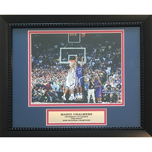 - Mario Chalmers Autographed Kansas Jayhawks THE SHOT Signed Framed 8x10 Basketball Photo