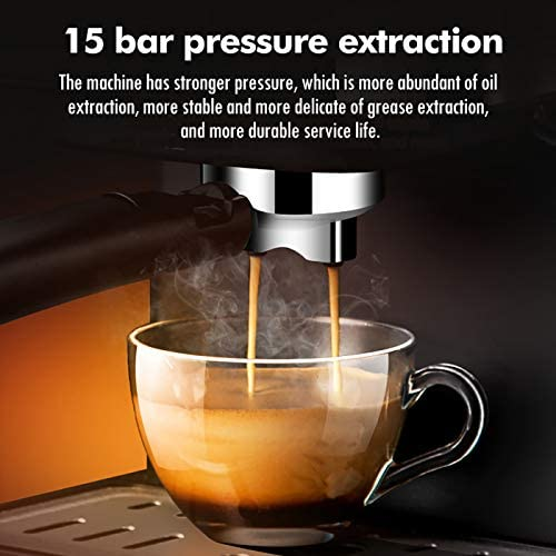 WXJHA Filtre Machine À Café, Machine Expresso Intégré Cappuccinatore 15Bar Système De Pression Machine À Café À Usage Domestique Machine À Café 1300W