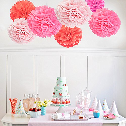 TheCraftyShop™ 21 Pieces Tissue Paper Pom Pom Tissue Pom Pom (Pink Orange Baby Shower)