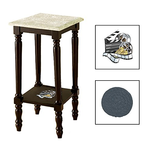 Espresso/Dark Walnut Marble Top Accent Table Featuring the Choice of Your Favorite Novelty Themed Logo on the Bottom Shelf - FREE Coaster Included (Movie Reel)