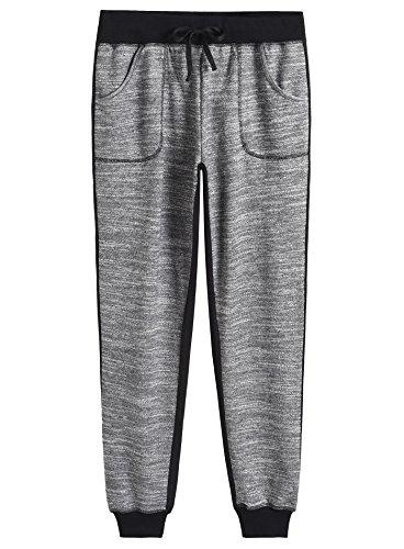Weintee Women's Cotton Jersey Pocket Joggers M Black Gray