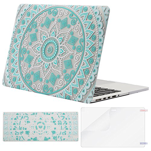 MOSISO Plastic Pattern Hard Case Only Compatible MacBook Pro (W/O USB-C) Retina 13 Inch (A1502/A1425)(W/O CD-ROM) Release 2015/2014/2013/end 2012 & Keyboard Cover & Screen Protector, Hot Blue Mandala