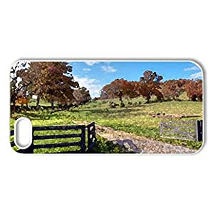 Farm in the Fall - Case Cover for iPhone 5 and 5S (Fields Series, Watercolor style, White)