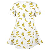 HuoGuo Girl's Short Sleeve A Line Cotton Casual Dress Banana3-4T/110CM