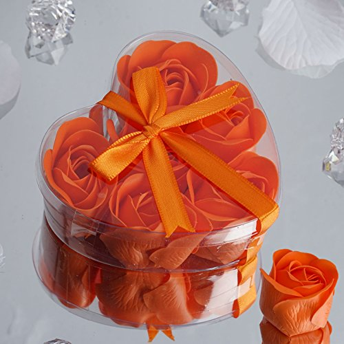 Heart Rose Soap Petals - BalsaCircle 50 Orange Cute Favor Heart Gift Boxes with 6 Rose Petal Soaps for Wedding Party Birthday Gifts Decorations Supplies