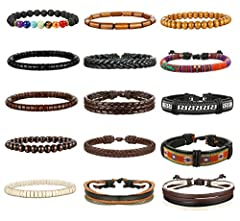 Thunaraz 4 Packs Men Leather Bracelets Hemp Cords Wood Beads Ethnic Tribal Bracelets Leather Wristbands 4packs leather cuff bracelet and wooden bracelets per setWhat are the benefits of this bead wrap bracelet set? *CRAFTED FROM HIGH QUALITY...
