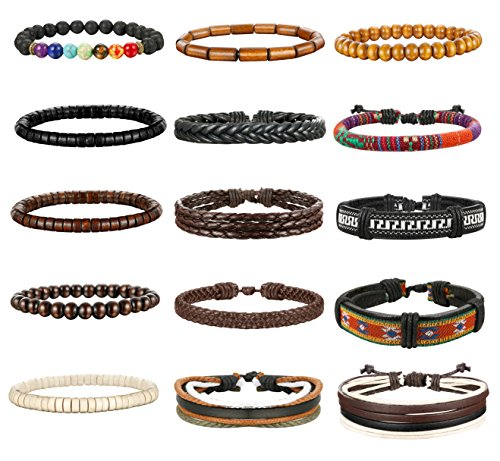Thunaraz 8-15Pcs Men Leather Bracelets Hemp Cords Wood Beads Ethnic Tribal Bracelets Leather Wristbands