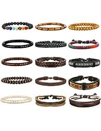 8-15Pcs Men Leather Bracelets Hemp Cords Wood Beads...