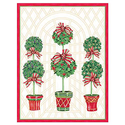 Caspari Topiaries Large Boxed Christmas Cards - 16 Cards & 16 Envelopes (Card Topiary)