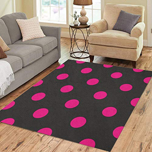 Pinbeam Area Rug Black Pattern Big Neon Pink Polka Dots Home Decor Floor Rug 3' x 5' Carpet ()