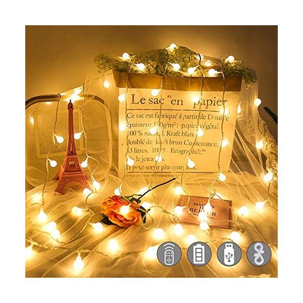 Catena Luminosa con Ganci Stringa Luci LED a Batteria o USB 100 LED 10M 8 Modi Ghirlanda Luminosa Lampadina Impermeabile con Telecomando per Cortile Casa Festa Matrimonio Natale 2 spesavip
