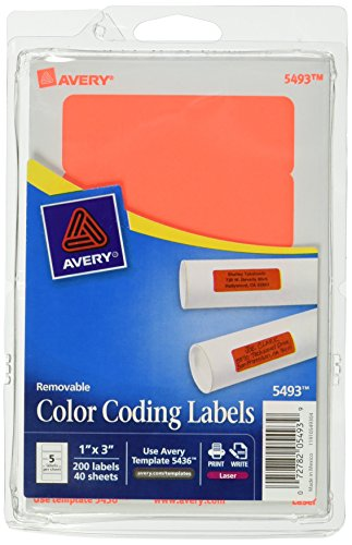 Avery Self Adhesive Removable Labels 1 X 3 Inches Red Neon 200