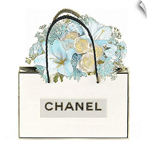 CANVAS ON DEMAND Bag with Floral Bouquet Wall Peel Art Print, 30