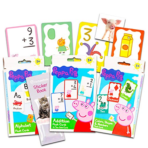 (Peppa Pig Flash Cards Super Set Toddler Kids -- 3 Packs of Flashcards (Peppa Pig ABC Flash Cards; Colors, Shapes and Numbers; Addition; Bonus Stickers))