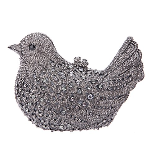 Girls Gray Glitter Blue Bird Bag Evening Purses Rhinestone Clutch Bonjanvye For Uwq8AgA