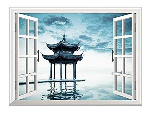 Removable Wall Sticker Wall Mural Ancient Chinese Pavilion Beside Peaceful West Lake Hangzhou China Creative Window View Wall Decor