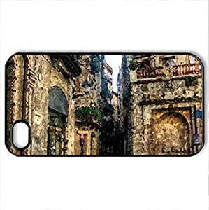 Barcelona (Spain) - Case Cover for iPhone 4 and 4s (Watercolor style, Black)