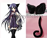 Halloween Cosplay Costume Party's Lovely Anime Cosplay Kitty Cat Ears and Tail (All black)