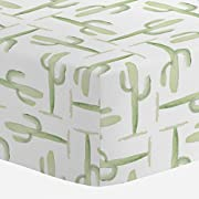Carousel Designs Watercolor Cactus Crib Sheet - Organic 100% Cotton Fitted Crib Sheet - Made in The USA