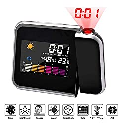 Amazon Black Sales Friday Deals Cyber Sales Monday Electronic Deals & Sales - Smart Home Projection Alarm Clock Digital Clock With Weather Station Time Projector for Livingroom Bedside Bedroom (Black)