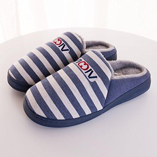 Habuji pantofole slittamento interna calda pantofole donne home base spessa carino uomo inverno pantofole, 42-43, blu scuro